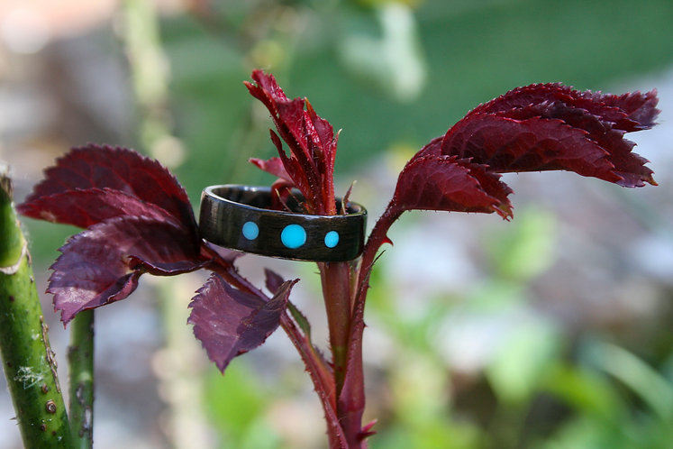 Eco-Friendly Oak Ring Band with Three Turquoise Cabochons