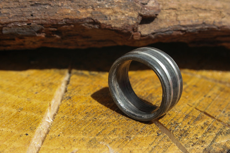 Eco-Friendly Fumed Oak Ring / Wedding Band With a Double Silver Inlay