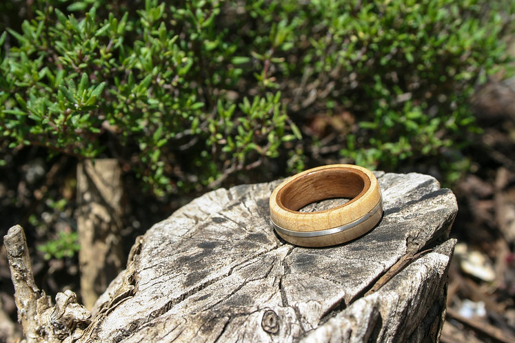 Eco-Friendly Walnut Maple Ring / Wedding Band with Silver Inlay