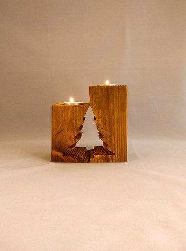Set of 2 Mirror Candle Holders Christmas Tree