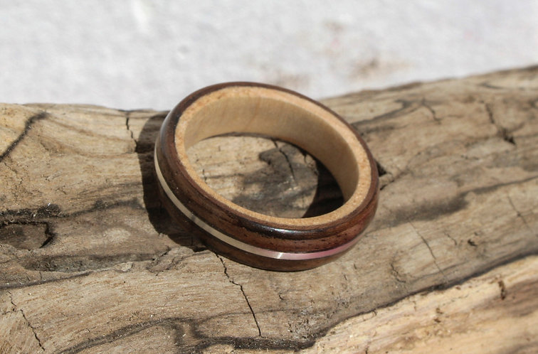 Eco-Friendly Maple and Walnut with a Silver Inlay Ring / Wedding Band