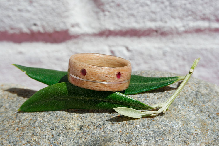 Eco-Friendly Cherry Wood & Ruby Ring Band with Silver Inlay