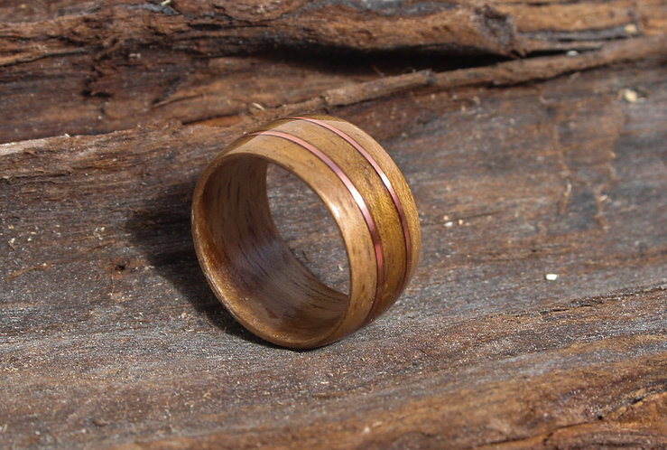Eco-Friendly walnut Wood Ring with Double Copper Inlay Wedding Band