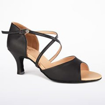 "Black Open Toe Shoe 2.33"" Heel"