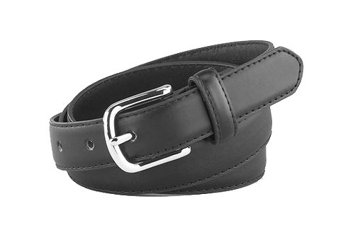 "Men's/Boys 1"" Smooth Leather Belt with Silver Buckle"