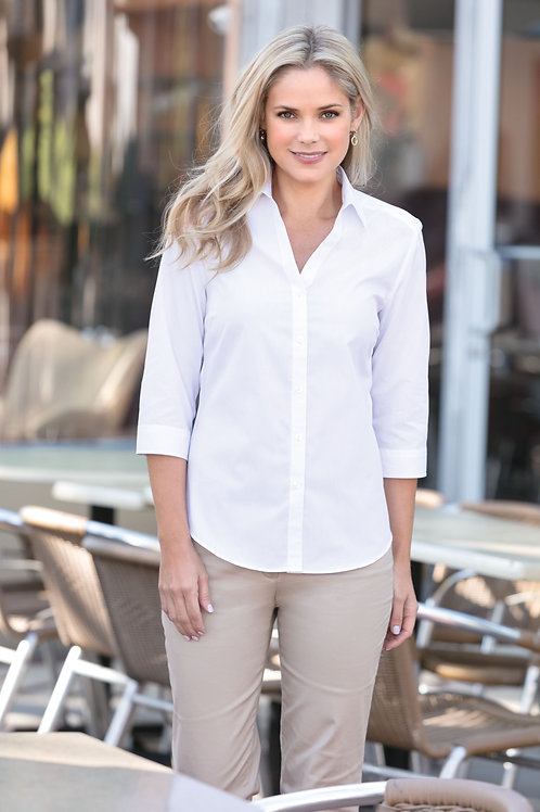 Port Authority® Ladies 3/4-Sleeve Carefree Poplin Shirt XS-4XL, $29.98-$37.98