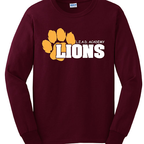 L.E.A.D. Burgundy Unisex Long Sleeve Field Trip Shirt Sizes Youth XS - Adult 3XL