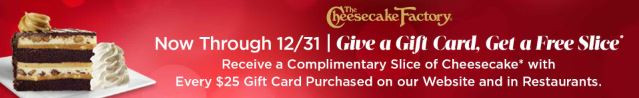 Cheesecake Factory Holiday Gift Card Offer
