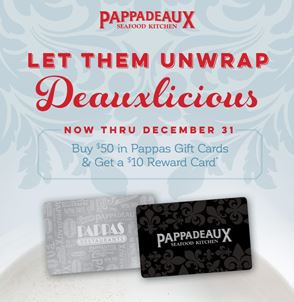 Pappadeaux Holiday Gift card Offer