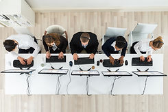 High Angle View Of Call Center Operators