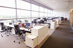 Large open plan office interior without