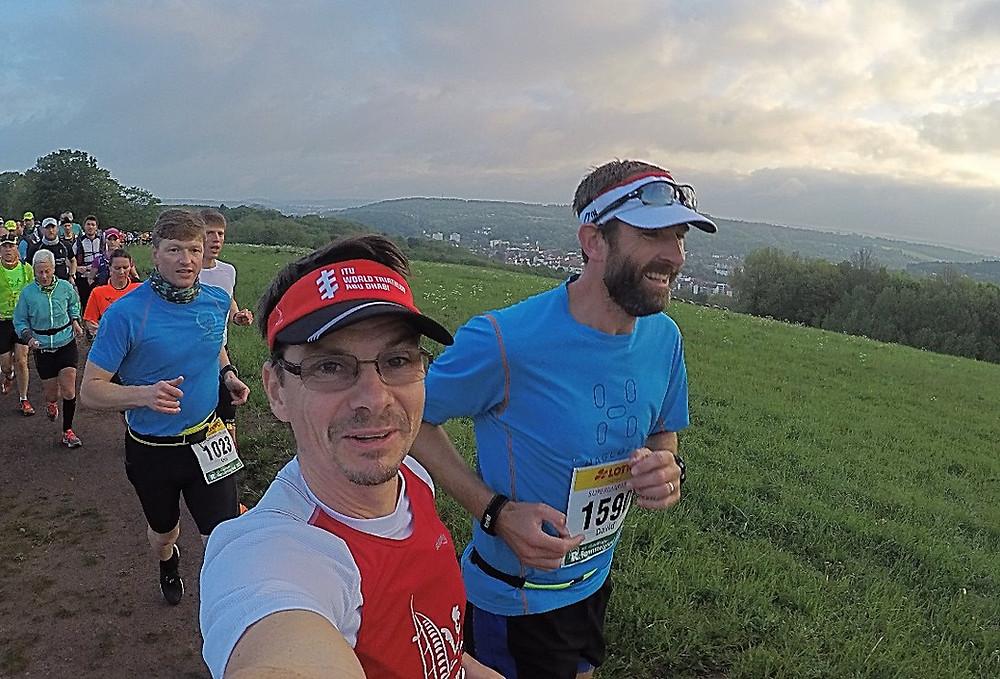 Running the Rennsteiglauf Trail in Germany with my friend, Peter