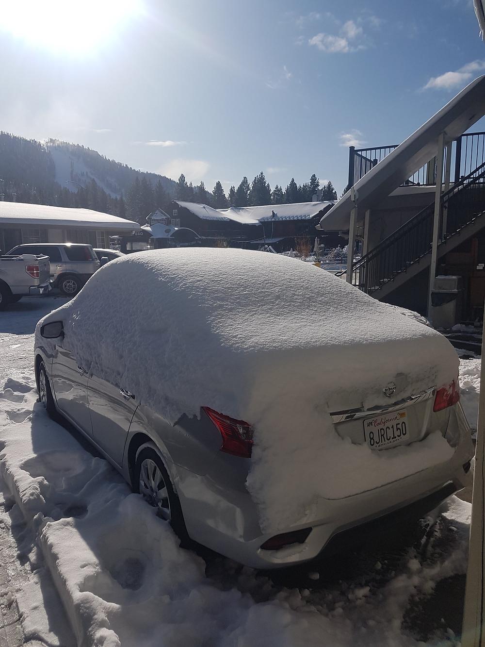 My rental car parked at Lake Tahoe