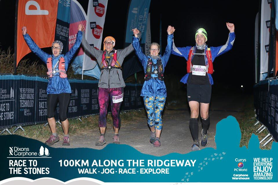 My sister (second from left) finishing her 100km run