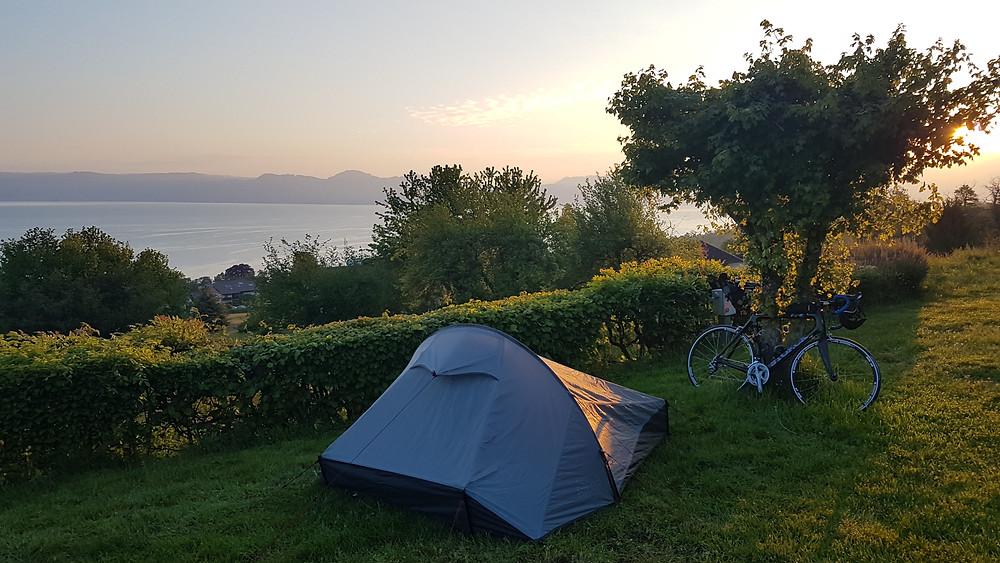 Early retirement bikepacking - sunrise over Lake Geneva