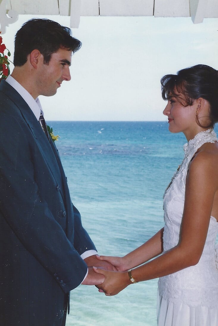 Our wedding day in Jamaica in 1995