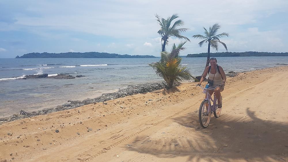Sally cycling in Bocas del Toro