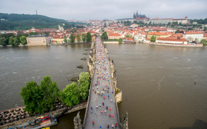Prague Marathon - One of ten bridge crossings