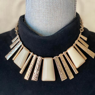 Gold and Nude Flare Neckalce