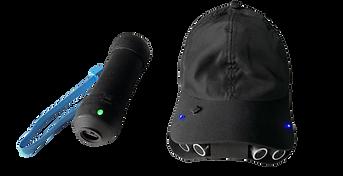 Segundo protótipo do EVA. Boné preto com sensores, pointer preto melhorado com material resistente.