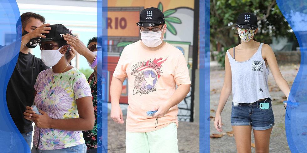 Na primeira imagem vemos um homem ajudando mulher a ajustar o EVA, em seguida vemos um rapaz utilizando o EVA nas ruas de Copacabana. Na terceira imagem vemos uma mulher utilizando o EVA em um parque.