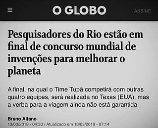 Matéria Jornal o Globo. Título: Pesquisadores do Rio estão em final de concurso mundial de invenções