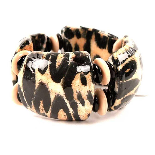 Treska Snow Leopard Wide Stretch Bangle Bracelet
