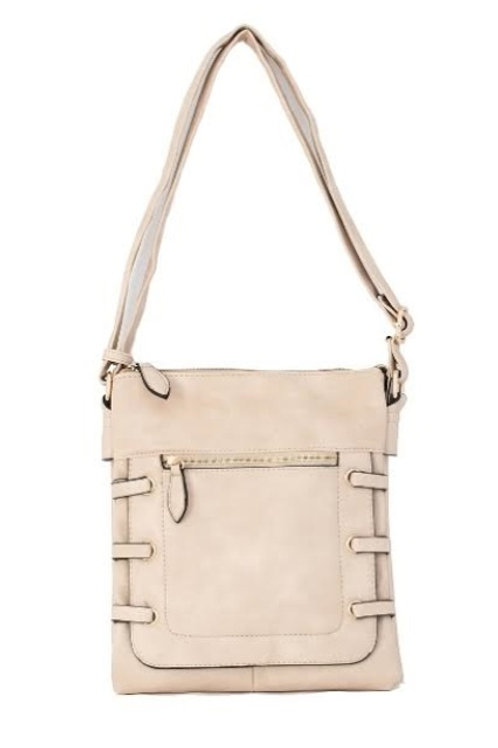 Light Taupe Tres Chic Side-Strap Accent Crossbody Bag