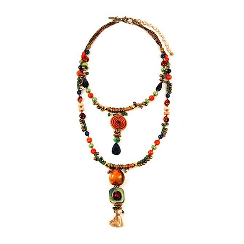 Playa Collection Beaded Hi-Low Necklace by Treska