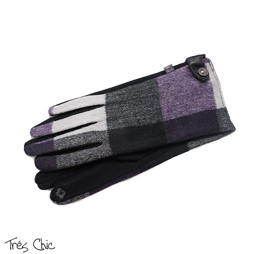 Tres Chic Purple Plaid Snap Accent Texting Tip Gloves