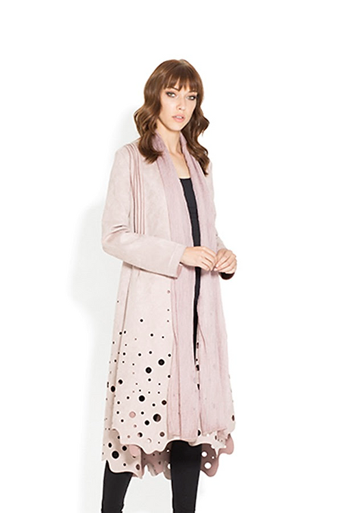 Blush/Dusty Rose Faux Suede Coat by Adore