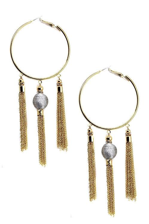 Golden Nebula Hoop & Tassel Earrings in Gold with Silver by Ettika