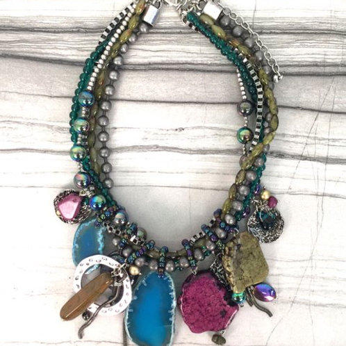 Messina Collection Multi-Strand Trinket Bibb Necklace by Treska