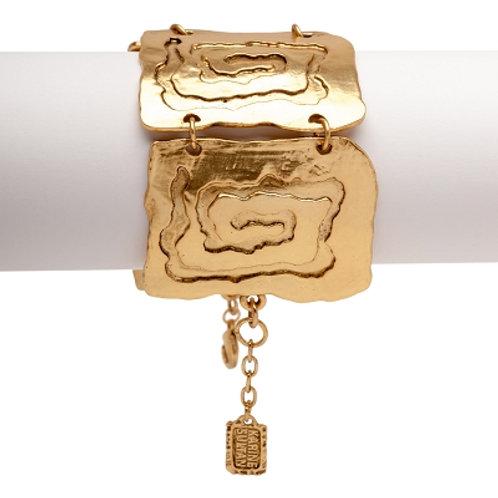Karine Sultan Shiny Gold Square Link Statement Bracelet