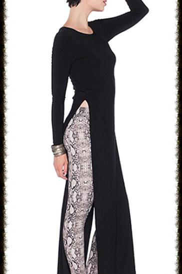 Last Tango Long-Sleeve Maxi Dress w/ High Slits