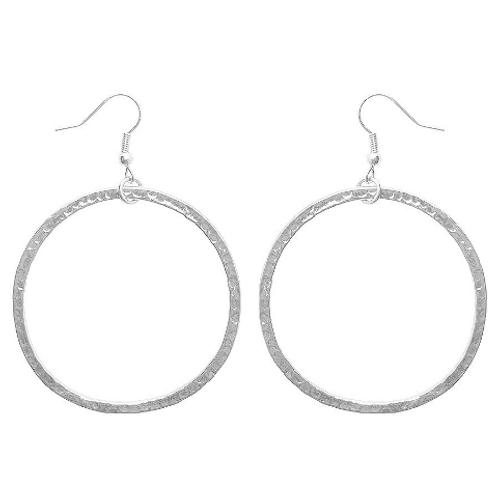 """Karine Sultan """"Paula"""" Glossy Silver Large Hoop Drop Earrings"""