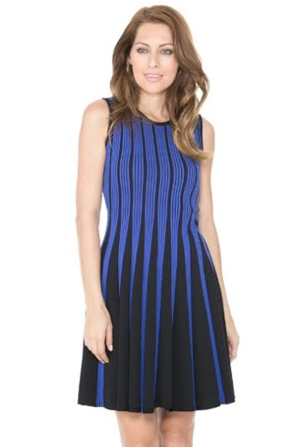 Adore Sleeveless Cobalt Blue/Black Striped Flare Dress