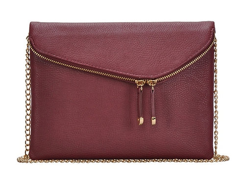Miztique Wine Double Zip Front Crossbody Bag