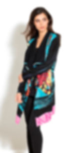 Multi-color long-sleeve, tuxedo front, hand-painted cardigan by Adore! Vibrant jewel & tropical hues converge making  stunning style statement!