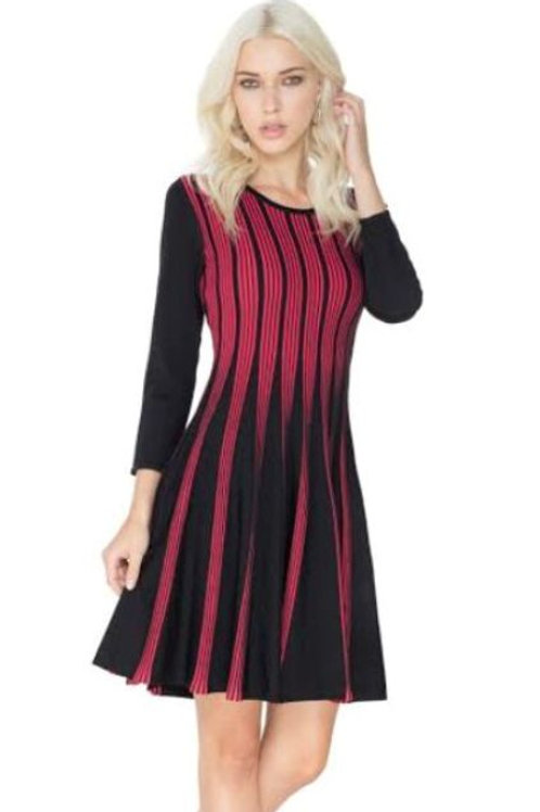 3/4 Sleeve Ruby Red/Black Striped Flare Dress by Adore