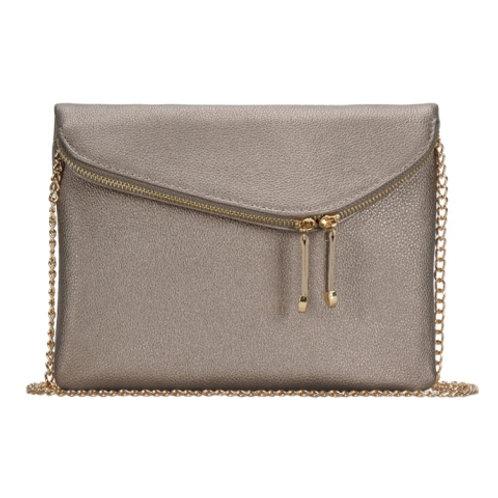 Miztique Pewter Double Zip Front Crossbody Bag
