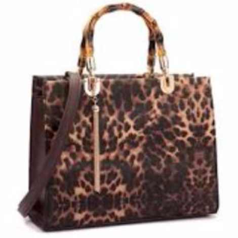 Large Animal Print Leather Gold Tassel Satchel by Fiore