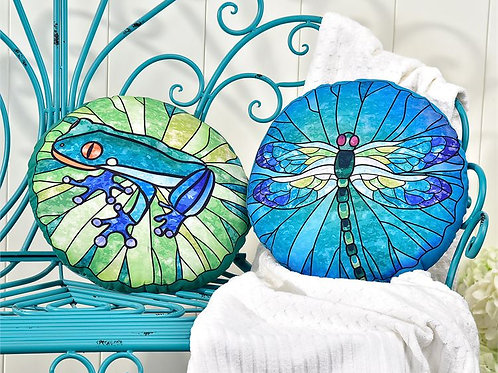 Pond Life Design Freeform Pillow - Dragonfly or Frog