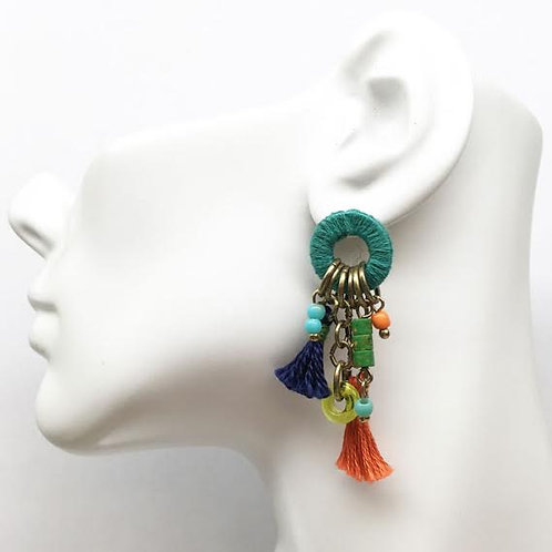 Treska Festival Collection Cluster Drop Tassel Earrings