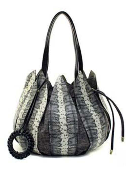 Chic Black/Gray Leather Petal Drawstring Bucket Bag by Fiore