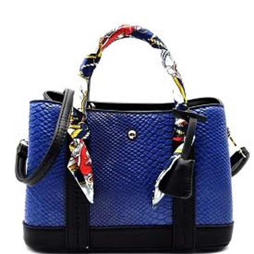Textured Leather Two-Tone Scarf-Wrapped Satchel by Fiore