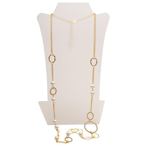 Elegant Matte Gold Crystal & Pearl Necklace by Karine Sultan