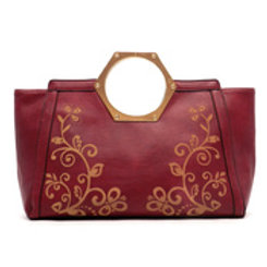 Ultra Chic Magenta Leather Bag w/ Vine Motif by Fiore