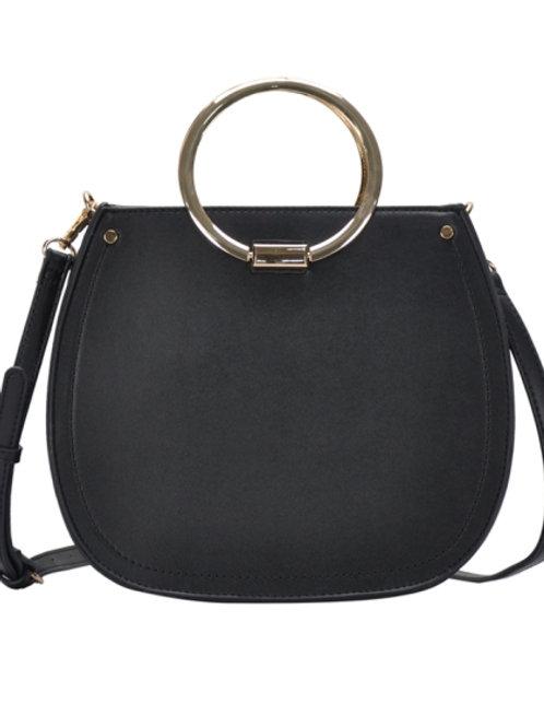 Miztique Double Hoop Handle Black Shoulder Bag/Satchel