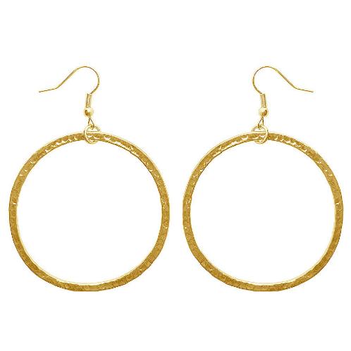 """Karine Sultan """"Paula"""" Glossy Gold Large Hoop Drop Earrings"""